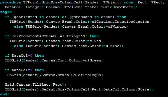 Mudar a cor da linha do DBGrid no Delphi